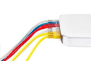 Multicolored network cables connected to router on a white background