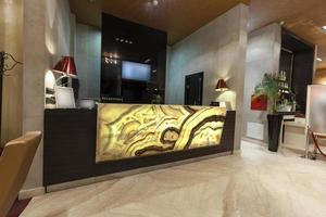 Glowing marble reception desk
