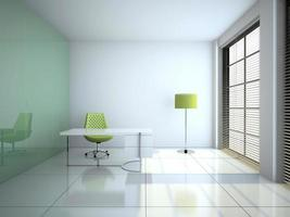Modern office interior with glass wall 3D rendering photo