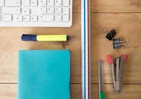 Wooden desk & stationery photo