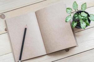 Cuaderno marrón, lápiz y planta sobre fondo de mesa de madera foto