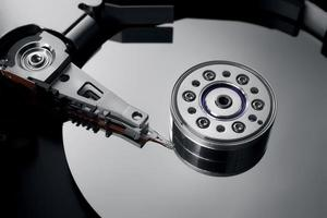 close-up of an opened hard drive