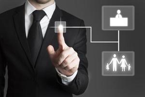 uomo d'affari touchscreen scelta famiglia e lavoro