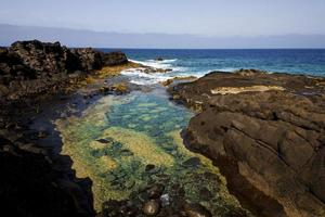 froth coastline in lanzarote spain
