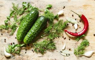 Preparing pickled cucumbers with spices and herbs, top view, sel