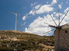 Windmills, old and new generation photo