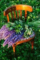 wooden chair with flowers