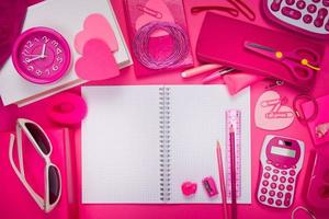 Girly pink desktop and stationery photo