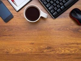 vista superior en el escritorio