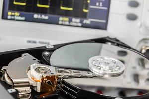 HDD in a test laboratory ready for data recovery photo