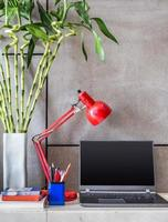 Laptop, lamp with vase of Lucky bamboo in modern room
