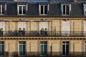 Typical Parisian French urban houses close up