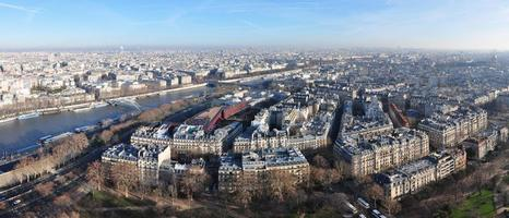 Panoramic aerial view on Paris from the Eiffel Tower