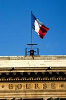 French flag on the stock exchange building