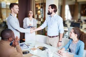 Handshaking at meeting