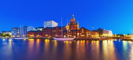 Night panorama of the Old Town in Helsinki, Finland