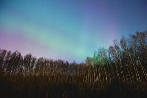 Beautiful landscape panoramic picture of northern lights aurora borealis