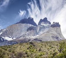 Incredible rock formation of Los Cuernos in Chile. photo