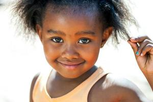 Facial portrait of african girl.