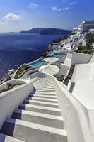Winding stairs going down to Aegan Sea, Santorini Island -Greece