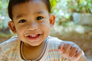 Asian Baby Boy Smiling and Enjoy Activity. photo