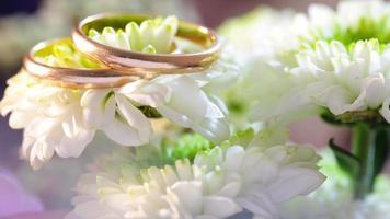Gold rings on flower photo