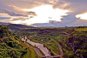 Dzoraget river gorge at sunset