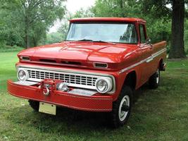 Big red pickup truck