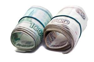Russian bills stapled Rubber band photo