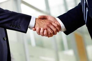 Two suited businessmen shaking hands firmly
