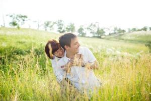 Happy couple outdoor, summertime photo