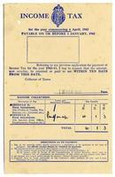 British Income Tax demand, 1942-3