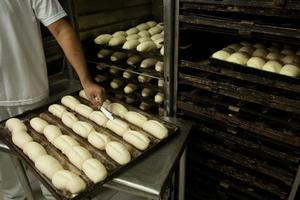 Bread being made in bakery. photo