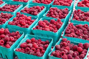 Ripe red raspberries at the market photo