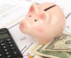 Piggy bank with cash, close up view photo