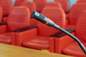 Microphone in red conference room