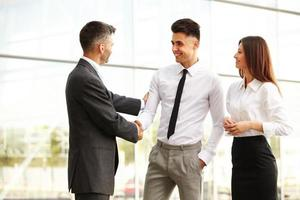 Business Team. People shake hands communicating with each other