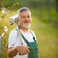 jardinero senior en su jardín