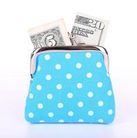 Blue purse with money isolated on white
