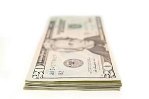 Bundle of twenty dollar bills photo