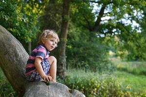 Little cute toddler boy having fun on tree in  forest photo