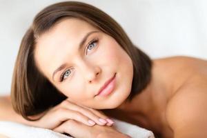 beautiful woman in spa salon photo