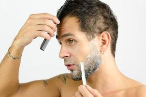 Arranging and beautification man photo