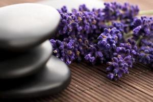 lavanda y piedras de masaje