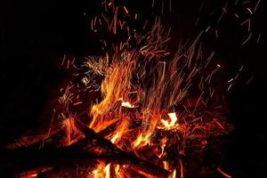 fire flame bonfire spark photo