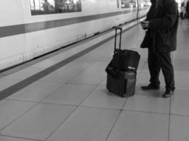 commuter at arriving train