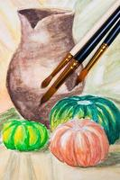 Paint brushes with watercolors painting.