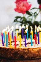 Birthday Cake with lots of Lit Candles photo