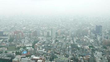 Japan cityscape in mist