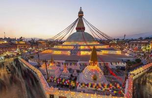 Sunset Boudhanath stupa and New Year Festival In Kathmandu Nepal photo